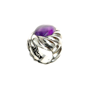 Silver Ring Spiral Band and Spiral Amethyst Holder