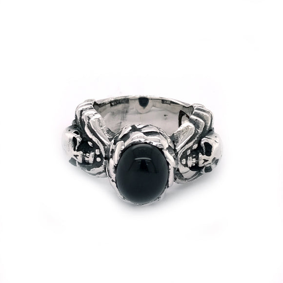 Silver Ring Magic Plant with Scull and Oval Onyx