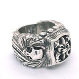 Silver Ring MAGIC PLANT Band SKULL with BAROQUE Frame and Open Lily