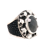 Silver Ring Oval SKULL Frame with Searay Leather