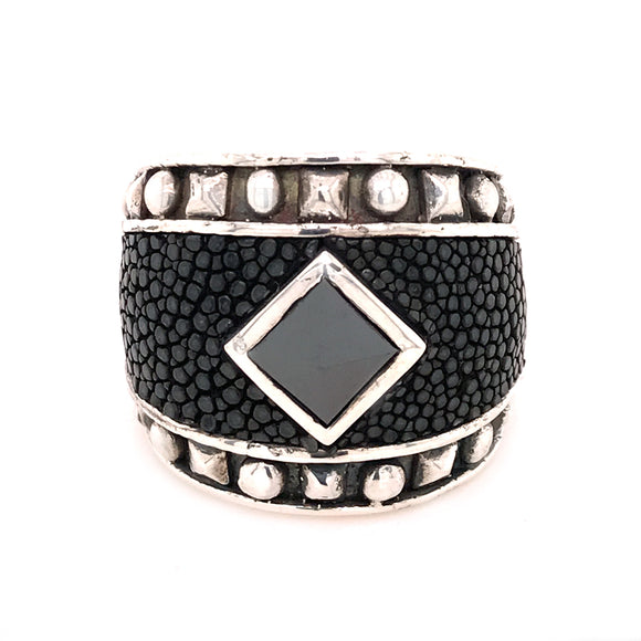 Silver Ring PYRAMIDE Stone and Pyramides Frame with Searay Leather Band
