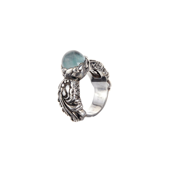 Silver Ring MAGIC PLANT Round Stone