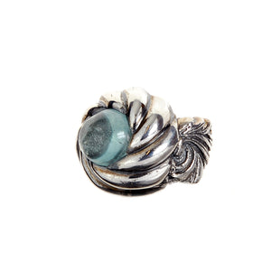 Silver Ring MAGIC PLANT Band and Aquamarine in SPIRAL Holder