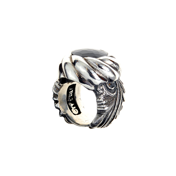 Silver Ring Magic Plant Band and Black Zirkonia in Spiral Holder
