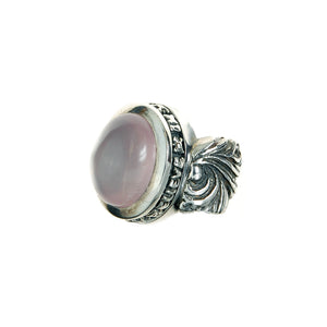 "Silver Ring ""Magic Plant"" Band and Rose Quarz in Believe Holder"