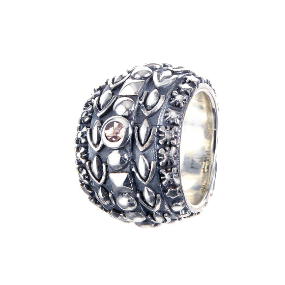Silver Ring Solid Bands with GARDEN AT NIGHT and DIAMOND