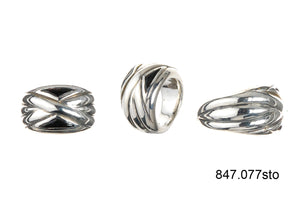 Silver Ring SOLID BANDS and  2 Triangle Stones