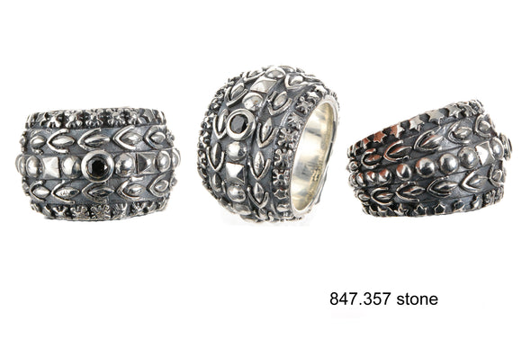 Silver Ring Solid Bands with GARDEN AT NIGHT and Stone