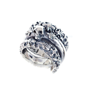 Silver Ring Spiral SKULL and LILIES with GARDEN AT NIGHT