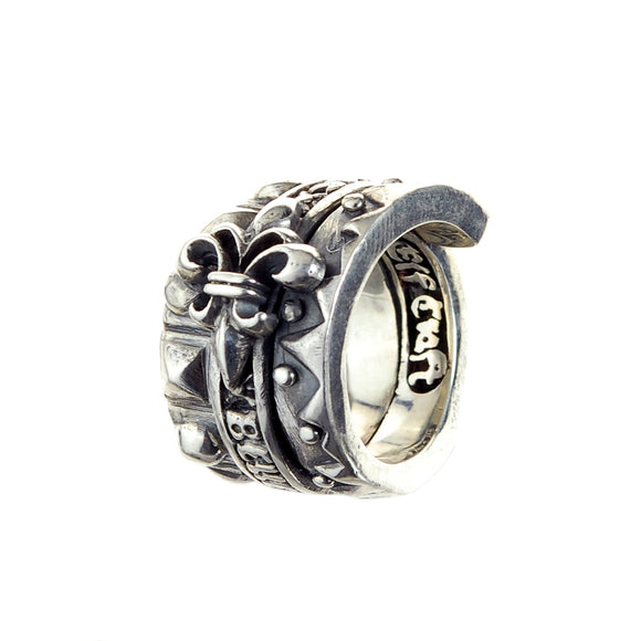 Silver Ring SPIRAL with BELIEVE IN YOUR DREAMS and LILY and Pyramide Sparks Band