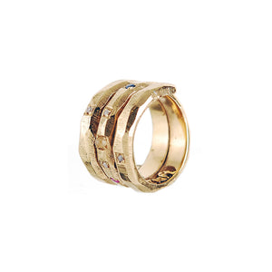 Silver Ring Spiral SUN and PLANETS Gold Plated