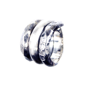 Silver Ring Spiral PLAIN Facetted Hammered and Rough