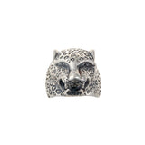"Silver Ring ""Leopard Head"" L with Leo Band"