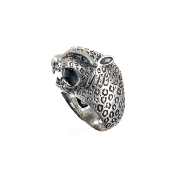 Silver Ring LEOPARD Head L with Leo Band