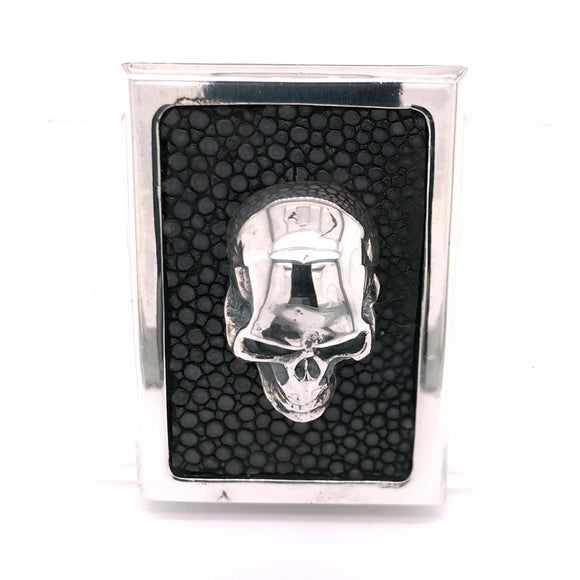 Silver Money Clip SKULL Rectangular with Searay