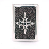 Silver Moneyclip CRESCENT STAR with Searay and Rectangular Frame