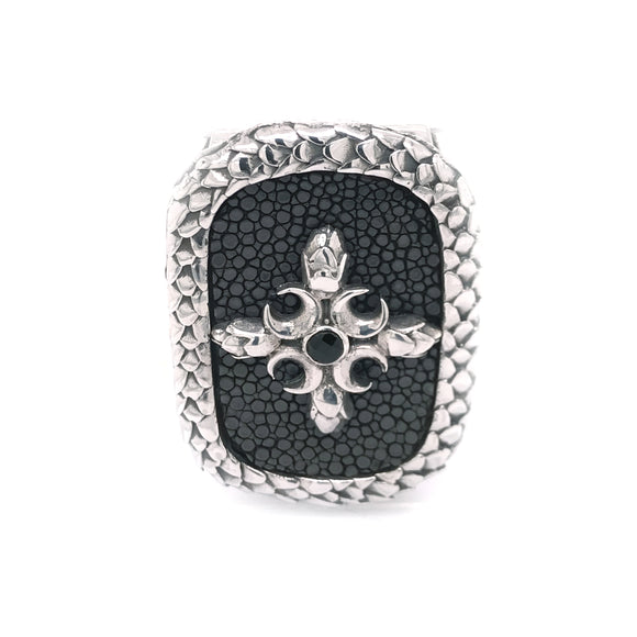 Silver Moneyclip CRESCENT STAR with Searay and Oval Dragon Scales Frame