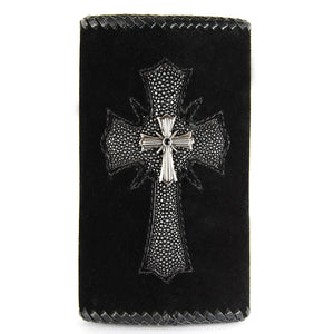 Leather Clutch Wallet with Searay Cross and Silver Cross