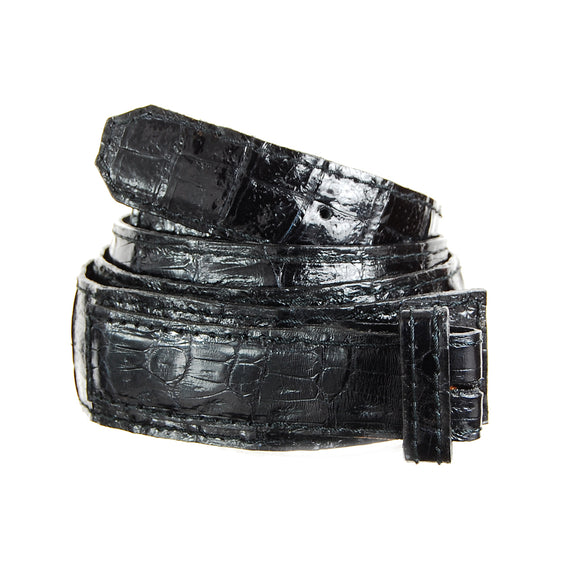 Belt Strap of Genuine Crocodile Leather with Buttons 35 mm