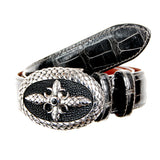 Belt Strap of Genuine Crocodile Leather with Buttons 30 mm