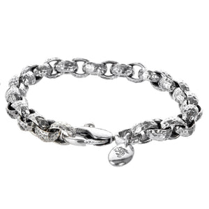 "Silver Bracelet ""Pea"" chain S hammered"