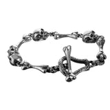 "Silver Bracelet ""Skull and Bones""  Stick and Loop Bone"