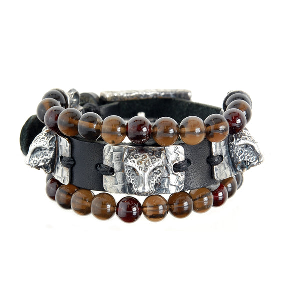 Silver Leather and Beads Bracelet with Silver Plates LEOPARD Heads 15