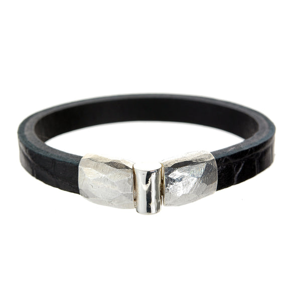 Silver Leather Bracelet  PLAIN Jointlock Facetted 10