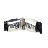 Silver Leather Bracelet PLAIN Jointlock Facetted 13