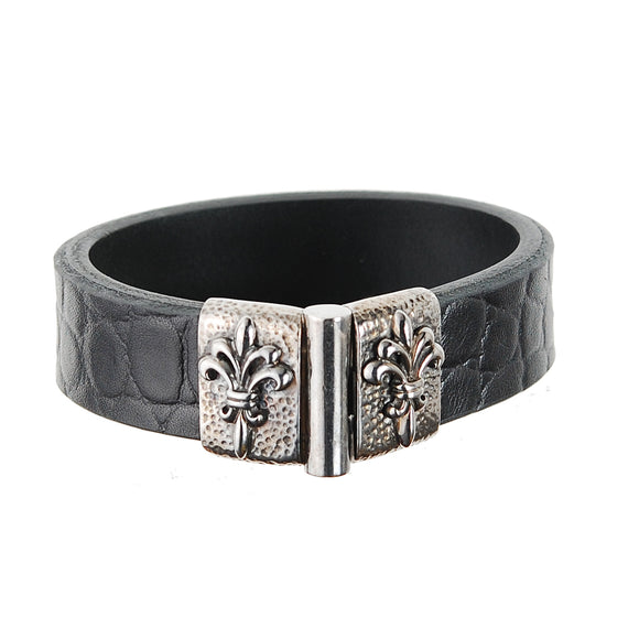 Silver Leather Bracelet Hammered with Lily  Jointlock 15