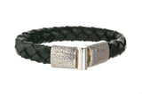 "Silver Leather Bracelet ""Plain"" Hammered Jointlock 13"