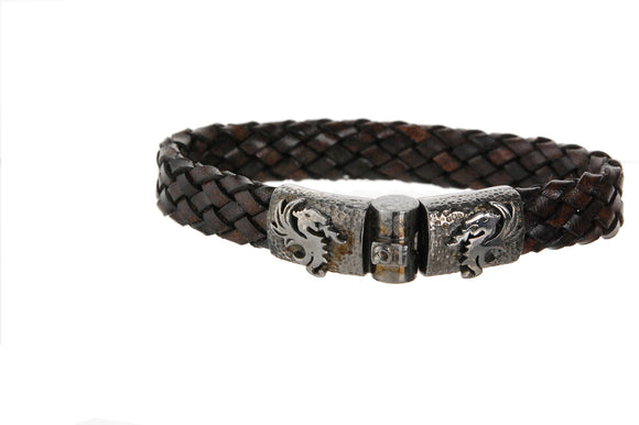Silver Leather Bracelet DRAGON FIRE Jointlock Hammered 13