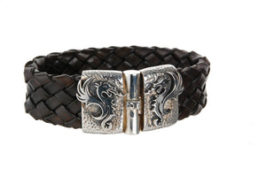 Silver Leather Bracelet DRAGON FIRE Jointlock Hammered 22