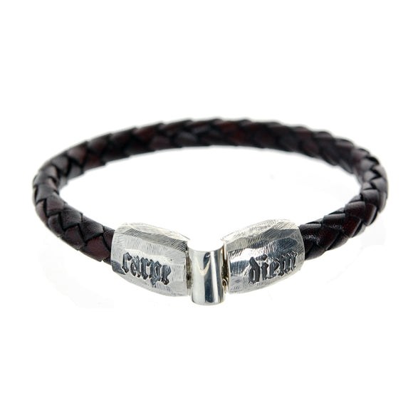 Silver Leather Bracelet CARPE DIEM Jointlock Facetted 6