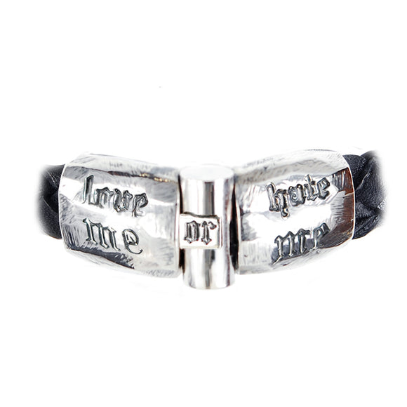 Silver Leather Bracelet LOVE ME or HATE ME  Facetted Jointlock 13