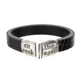 "Leather Bracelet ""On the road again"" facetted"