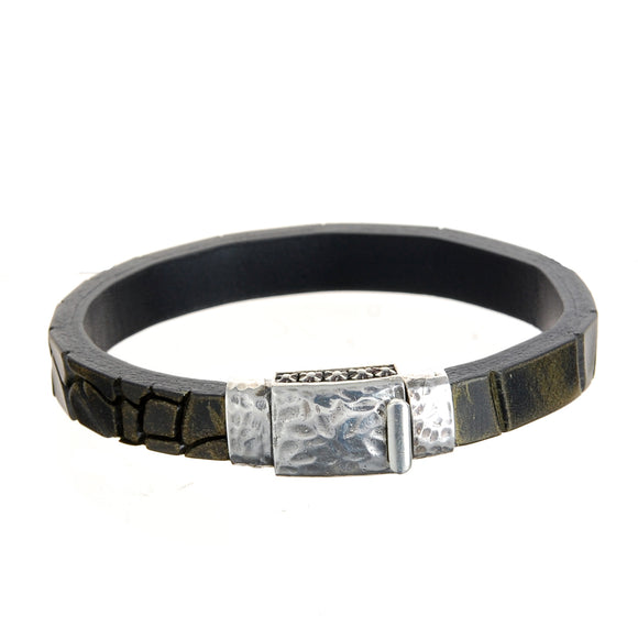 Silver Leather Bracelet PLAIN hammered  boxlock 10