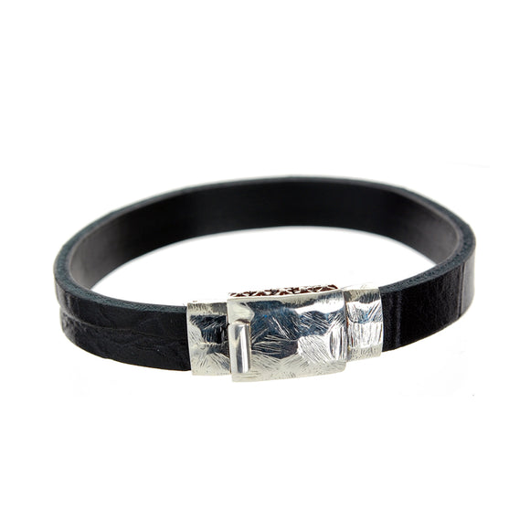 Silver Leather Bracelet plain facetted  boxlock 10
