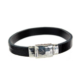 Leather Bracelet plain facetted  boxlock 10