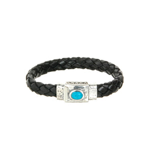 "Leather Bracelet ""Oval Stone"" Facetted Boxlock"