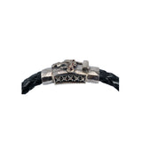 Silver Leather Bracelet DRAGON FIRE Boxlock Facetted 10