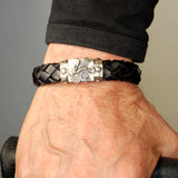 Silver Leather Bracelet DRAGON FIRE Boxlock 13