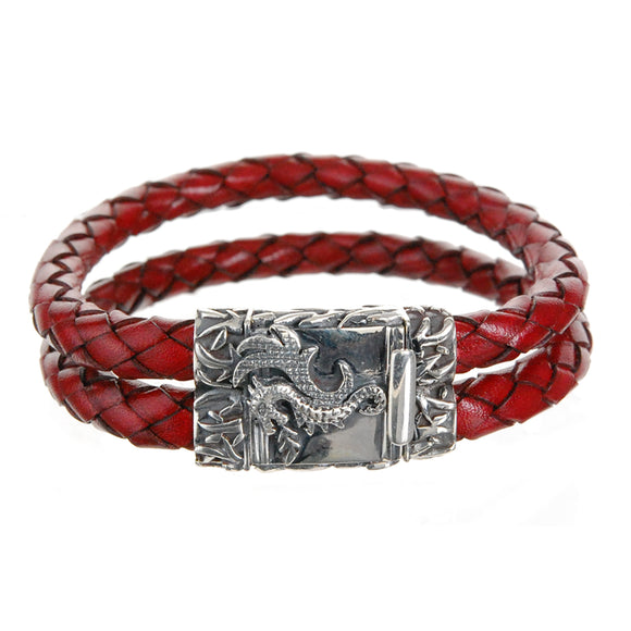 Silver Leather Bracelet DRAGON FIRE Duo 6