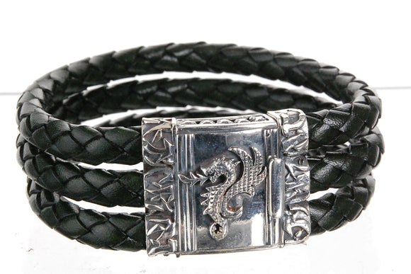 Silver Leather Bracelet DRAGON FIRE Tri 6