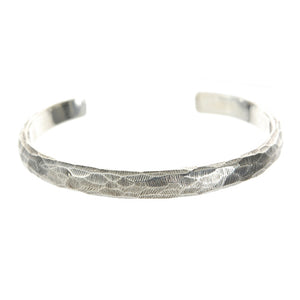"Silver Bangle Wide Rough Facetted ""Plain"""