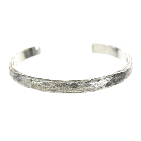 Silver Bangle Wide Rough Facetted