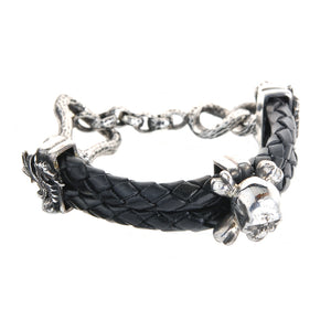 "Silver Leather Bracelet Double ""Skull"" and ""Bones"" with Stick and Loop 5"