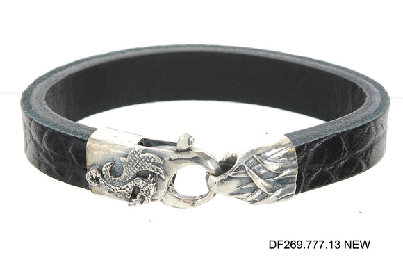 Silver Leather Bracelet Lobster Claw DRAGON FIRE 13