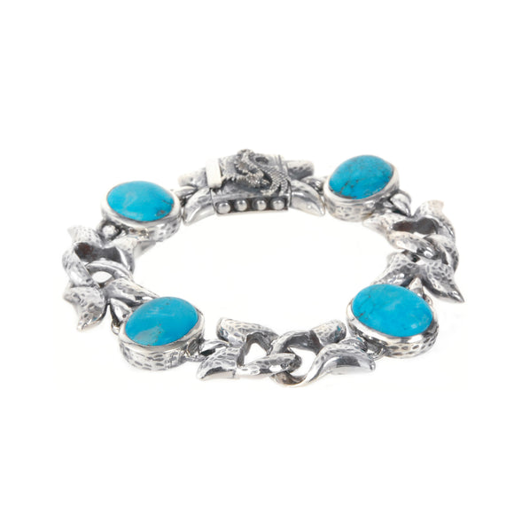 Silver Bracelet Oval Turquoise and Swallowtail Chain M