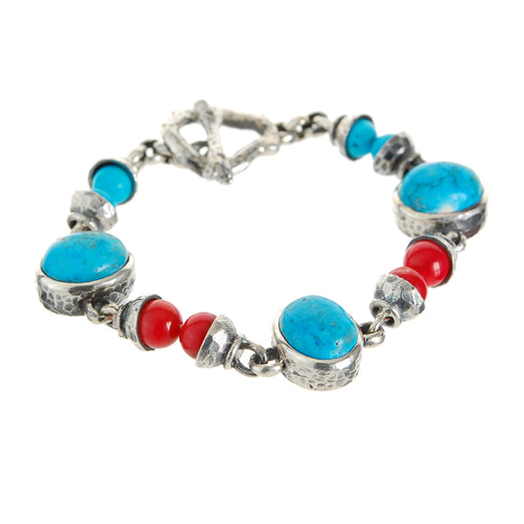 Silver Bracelet TURQUOISE and Coral Beads and Oval Stones